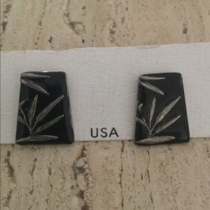 Chico's Pewter with Black Enamel Earrings